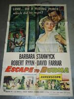 "Original ESCAPE TO BURMA 1955 One Sheet Movie Poster 27"" x 41"