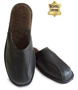 Herren KALBSLEDER Hausschuhe Pantoffeln Schlappen m. Lammwolle Schwarz Gr. 41-46