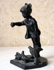 Vintage Soviet USSR Figurine GIRL AND PIGEONS  Cast Iron Sculpture Kusa Kasli