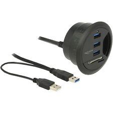 DeLOCK Tisch-Hub 3 Port USB 3.0, Kartenleser