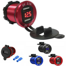 1x Waterproof Dual USB 5V 4.2A Phone Charger Car Boat Voltmeter Red LED Display