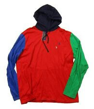Polo Ralph Lauren Big & Tall Red Multi Colorblock Jersey L/S Hooded T-Shirt
