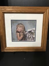 "MERCY - Angel Nancy Noel Print Signed With Seal And Wooden Frame 14""x13"""