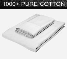 1000TC Egyptian Cotton Collection Queen Bed Fitted Sheet + Pillowcases Set White
