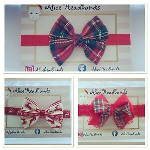 Tartan Fabric Bow Reindeer Bow Baby Headband Glitter Baby Girls Christmas + Lot