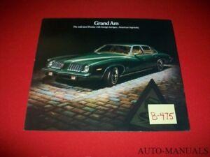 VINTAGE 1974 PONTIAC GRAND AM LARGE FORMAT TEASER BROCHURE COLONNADE HARDTOP