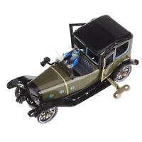Retro Wind up Tin toy Saloon Car Sedan Driver Clockwork Collectible Kids Toy