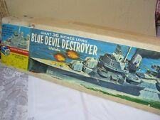 Vintage Lindberg Blue Devil Destroyer Plastic Ship Model Kit with Motor & Box  T