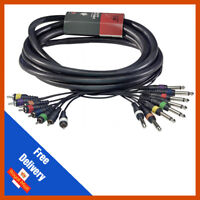 "8-Way 3m 6.35mm 1/4"" Mono Jack to RCA Phono Loom 