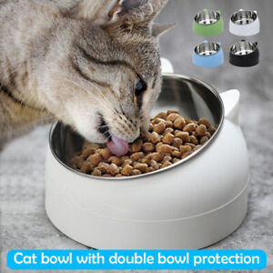 200/400/ml Pet Cat Bowl Raised No Slip Stainless Steel Tilted Feeder Bowl AU A+
