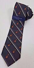 Men's NWT Tommy Hilfiger New Vintage Black Striped Guitar Print Silk Neck Tie