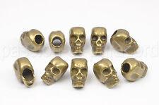 10 Totenköpfe 7x11mm, Antik Bronze, Perle, Metal Skull Bead für Paracord