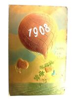 Vintage Postcard 1907 A Happy New Year 1908 Air Balloon Gold Holiday