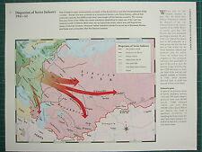 WW2 WWII MAP ~ DISPERSION OF SOVIET INDUSTRY 1941-42 USSR BOUNDARY RAILWAYS etc