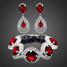 SILVER PLATED AUSTRIAN CRYSTAL & RHINESTONE RUBY RED BRACELET AND EARRING SET