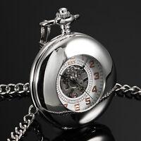 ESS Mens Pocket Watch Mechanical Silver Case Half Hunter Skeleton Chain Luxury