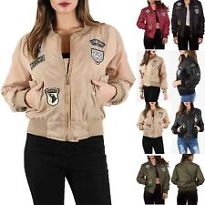 Womens Ladies Zip Up Army Badges MA1 Classic Padded Airforce Biker Bomber Jacket