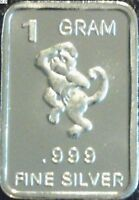 1 Gram .999 Fine Pure Solid Silver Bullion (Uncirculated) Mini Art-bar: MONKEY