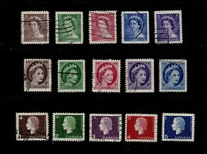 Canada Postage Stamps Used QE II Definitives Lo Values Clean Stamps (15v)