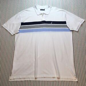 1271 Nautica Polo Golf Shirt Mens Sz 3XL Casual Short Sleeve WHITE Blue Gray NEW