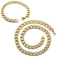 Set Steel Necklace Chain Link Bracelet Jewelry Gold Silver Black with gift bag