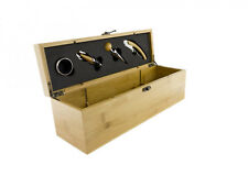 Professional 5 Piece Wine Set In Bamboo Wine Box Corkscrew Stopper Pourer Collar