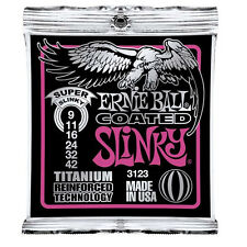 Ernie Ball 3123 Coated Titanium RPS Super Slinky Guitar Strings (09-42) +Picks