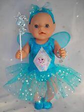 """Dolls clothes for 17"""" Baby Born doll~FROZEN~ELSA AQUA FAIRY DRESS & ACCESSORIES"""