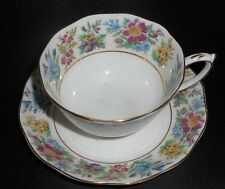 DSPLYD VINTAGE ROSLYN WHTE FLORAL FINE BONE CHINA TEACUP & SAUCER COUNTRY RAMBLE