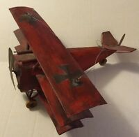 Tin Bi Plane Handmade Red With Black Crosses Propeller Aviation