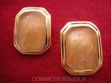 """Boucles d'oreille """"Rectangle"""" émaillé N° 4 Orange 70's - Bijoux Vintage Sphinx"""