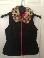 Energie Down Vest Girl Sz Medium 7/8 Faux-fur Cheetah collar Pre-owned
