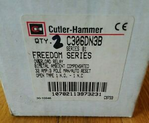 Box of 2 Eaton Cutler Hammer C306DN3B overload relay 3 pole open 32 amps 1NO 1NC