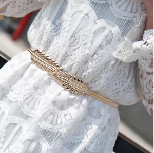 Gold Leaf Waist Belt Metal Elastic Leaf Dress Belt Bridal Dress Belt Stretch Bel