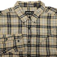 Eddie Bauer Beige Flannel Long Sleeve Button Up Plaid Shirt Men's XL Distressed