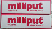 2 x Milliput Standard Yellow Grey 2 Part Expoxy Putty Filler Repair Model 113.4g