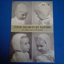 Vintage Patons Child's Helmets 4 Designs Knitting Pattern 314