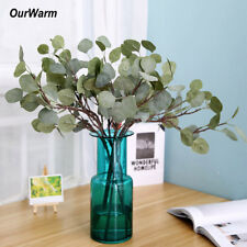 3pcs Artificial Silver Dollar Eucalyptus Stem Leaf Spray In Green Wedding Decro