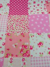 PATCHWORK PATCHES GINGHAM VINTAGE LOOK FLORAL ROSE 100% cotton fabric/PER METRE/