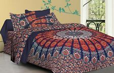 Mandala Quilt Cover Blue Queen Cotton Printed Indian Duvet Cover Peacock Feather