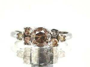 1.12Ct Champagne Natural Diamond Ring Sterling Silver See Video