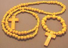 Rosary Wood Bead Gold Imprint Crucifix BONUS Bracelet Rosary YELLOW Wow!
