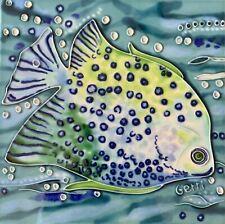 Blue Fish Decorative Wall Art Ceramic Tile 8x8 New