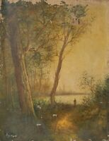 Tableau Peinture Ancienne Huile signé XIXème - Paysage, Barbizon, Coucher Soleil