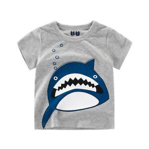 T-Shirt Boys Short Sleeves Girls Tee Collarless Top 100% Cotton Cartoon Shark ^