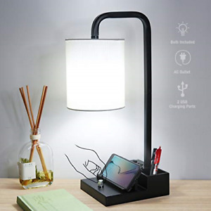 Bedside lamp with 2 USB Ports & 1 AC Outlet, Fully Dimmable Table Lamp with Two