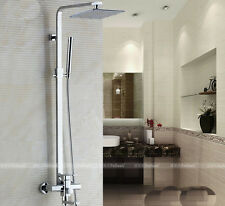 "Exposed Luxury Large 16"" Rain Shower Faucet Set Bathtub Mixer Tap Hand Shower"