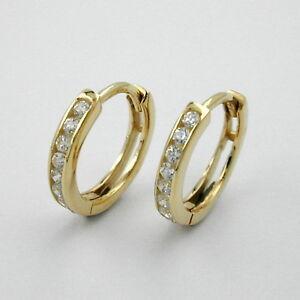 1 Paar Mädchen Scharnier- Creolen Kinder Ohrringe mit Zirkonia Echt Gold 333 8Kt