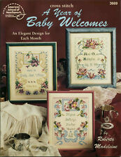 A YEAR OF BABY WELCOMES Design for each Month CROSS STITCH PATTERN BOOK
