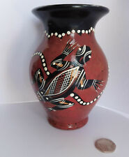 "Australian art pottery vase animal design lizard 5.5"" tall Waterhole Dreaming"